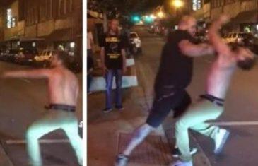 Tip bez majice je ušao u frku sa POGREŠNIM izbacivačem, pogledajte šta mu se DESILO (VIDEO)