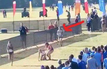 Učenici zastali da pomognu djevojci koja se srušila, ali obratite pažnju na trkačicu iza nje!