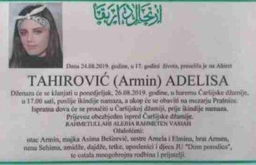 U Zenici sutra dženaza djevojci koja je pala s balkona i poginula: Išla da uzme upaljač, pa se okliznula…