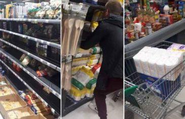 OPŠTA PANIKA U SARAJEVU: Prazne se police supermarketa u Sarajevu, građani kupuju naveliko
