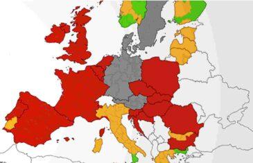 Objavljena karta za ograničenje kretanja: Više od pola Europe u crvenoj zoni, samo tri zemlje zelene
